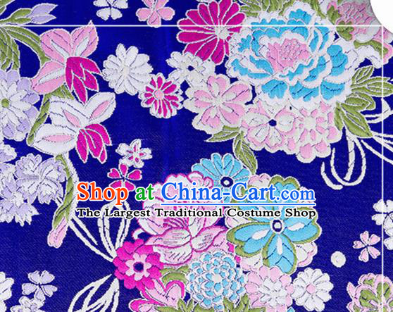 Chinese Traditional Brocade Fabric Tang Suit Royalblue Silk Cloth Cheongsam Material Drapery