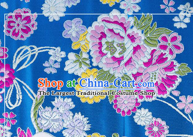 Chinese Traditional Brocade Fabric Tang Suit Blue Silk Cloth Cheongsam Material Drapery