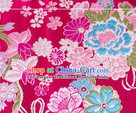 Chinese Traditional Brocade Fabric Tang Suit Rosy Silk Cloth Cheongsam Material Drapery
