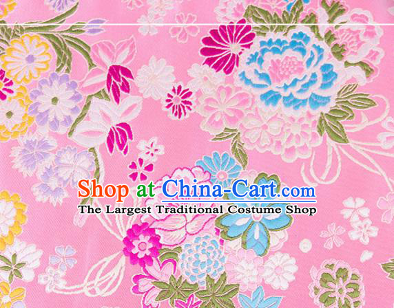 Chinese Traditional Brocade Fabric Tang Suit Pink Silk Cloth Cheongsam Material Drapery