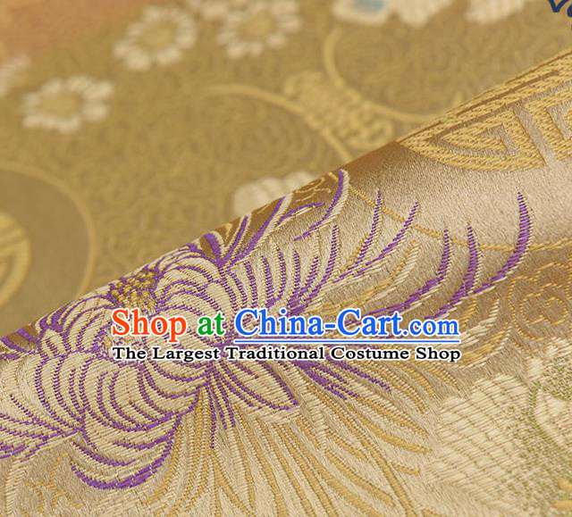 Chinese Traditional Golden Brocade Fabric Chrysanthemum Pattern Tang Suit Silk Cloth Cheongsam Material Drapery