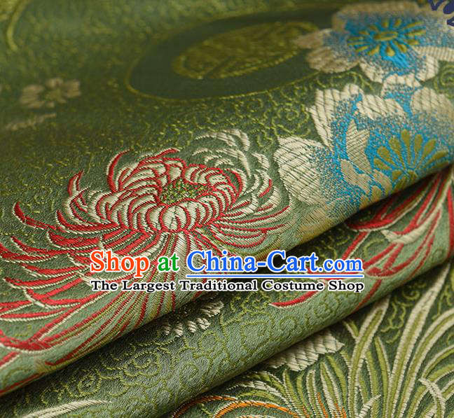 Chinese Traditional Olive Green Brocade Fabric Chrysanthemum Pattern Tang Suit Silk Cloth Cheongsam Material Drapery