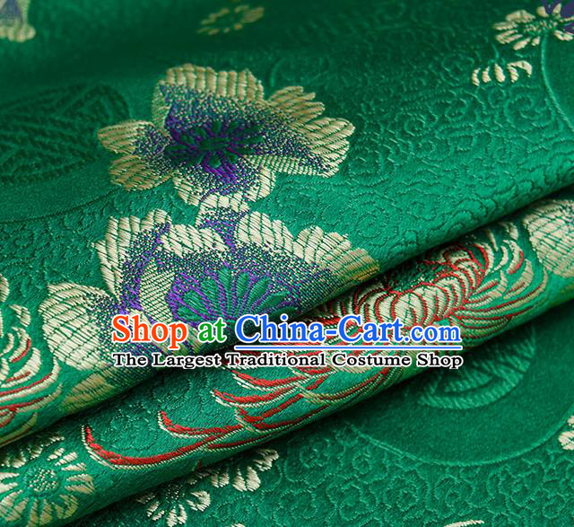 Chinese Traditional Green Brocade Fabric Chrysanthemum Pattern Tang Suit Silk Cloth Cheongsam Material Drapery