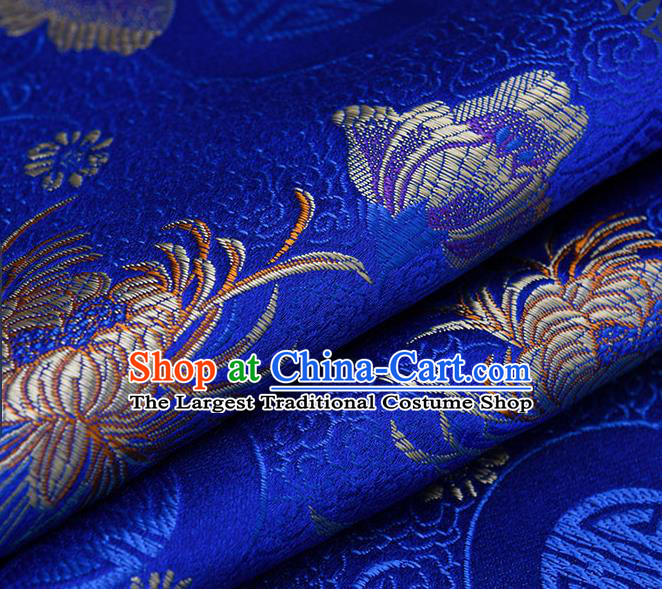 Chinese Traditional Royalblue Brocade Fabric Chrysanthemum Pattern Tang Suit Silk Cloth Cheongsam Material Drapery