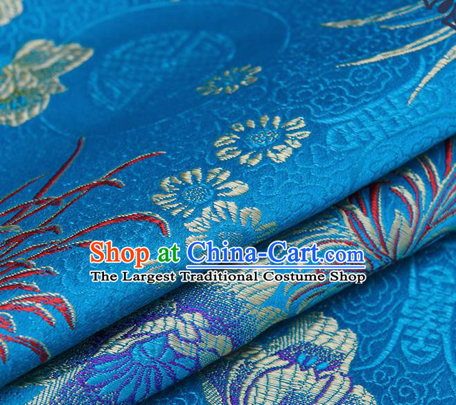 Chinese Traditional Blue Brocade Fabric Chrysanthemum Pattern Tang Suit Silk Cloth Cheongsam Material Drapery