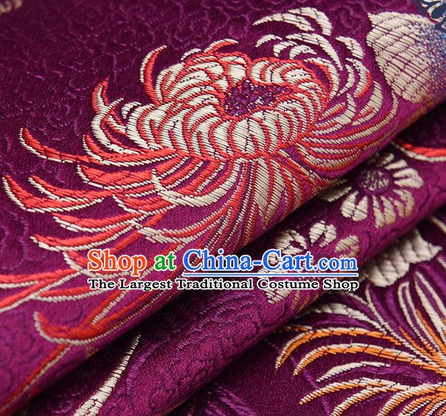Chinese Traditional Purple Brocade Fabric Chrysanthemum Pattern Tang Suit Silk Cloth Cheongsam Material Drapery