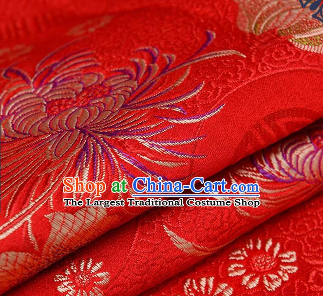 Chinese Traditional Red Brocade Fabric Chrysanthemum Pattern Tang Suit Silk Cloth Cheongsam Material Drapery