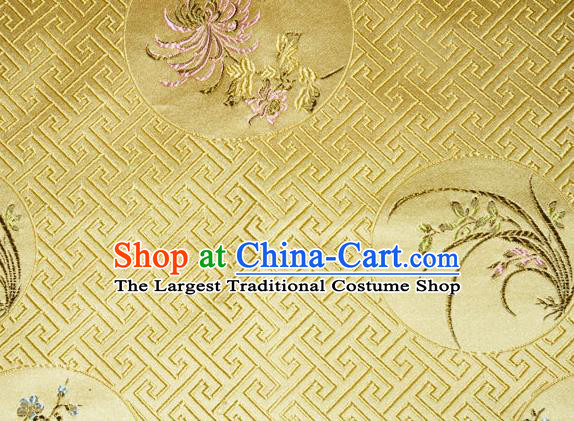 Chinese Traditional Silk Fabric Plum Blossom Orchid Bamboo Chrysanthemum Pattern Tang Suit Yellow Brocade Cloth Cheongsam Material Drapery