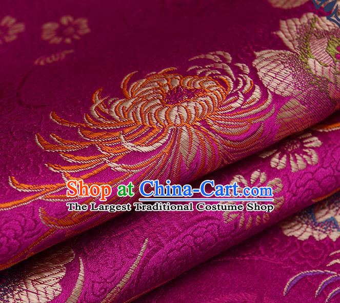 Chinese Traditional Brocade Fabric Chrysanthemum Pattern Tang Suit Silk Cloth Cheongsam Material Drapery