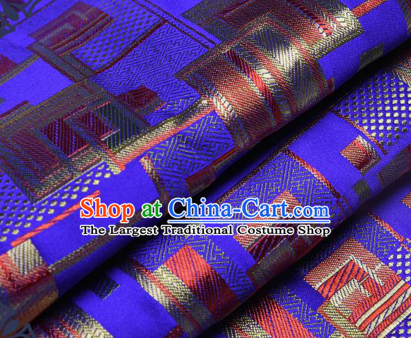 Chinese Traditional Tang Suit Nanjing Brocade Royalblue Fabric Silk Cloth Cheongsam Material Drapery