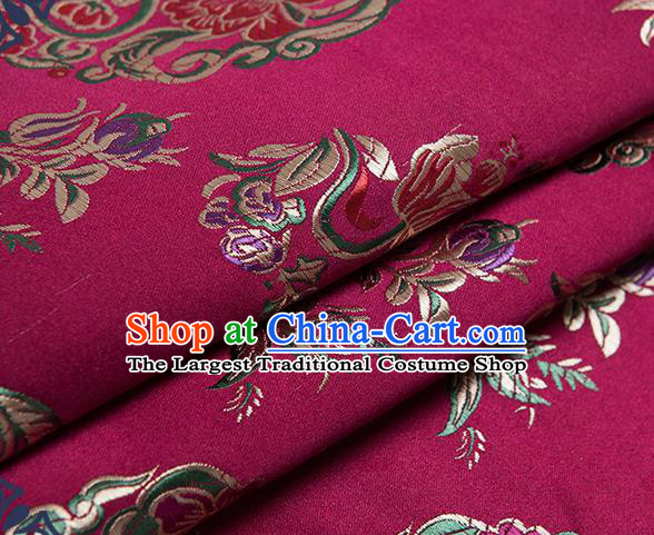 Chinese Traditional Palace Pattern Tang Suit Brocade Rosy Fabric Silk Cloth Cheongsam Material Drapery