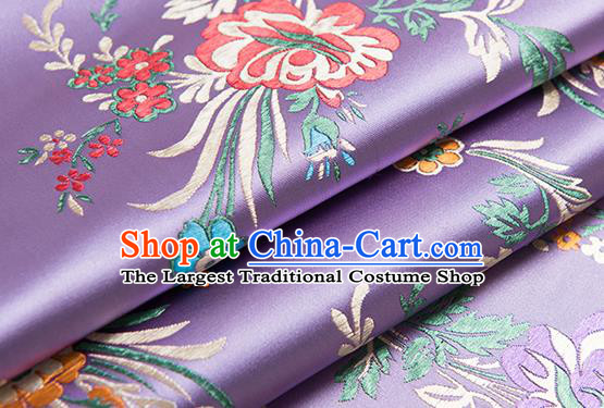 Chinese Traditional Begonia Pattern Tang Suit Lilac Brocade Fabric Silk Cloth Cheongsam Material Drapery