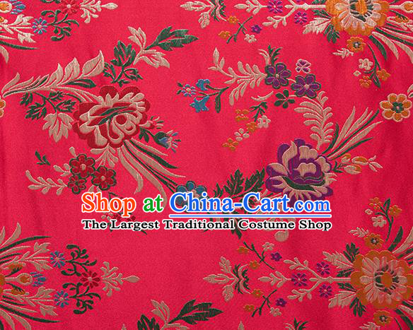 Chinese Traditional Begonia Pattern Tang Suit Red Brocade Fabric Silk Cloth Cheongsam Material Drapery