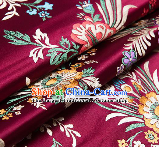 Chinese Traditional Begonia Pattern Tang Suit Wine Red Brocade Fabric Silk Cloth Cheongsam Material Drapery