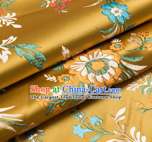 Chinese Traditional Begonia Pattern Tang Suit Golden Brocade Fabric Silk Cloth Cheongsam Material Drapery