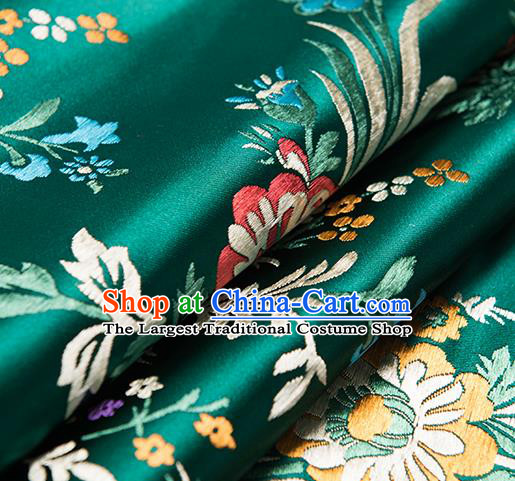 Chinese Traditional Begonia Pattern Tang Suit Green Brocade Fabric Silk Cloth Cheongsam Material Drapery