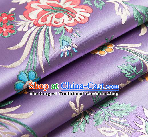 Chinese Traditional Begonia Pattern Tang Suit Light Purple Brocade Fabric Silk Cloth Cheongsam Material Drapery