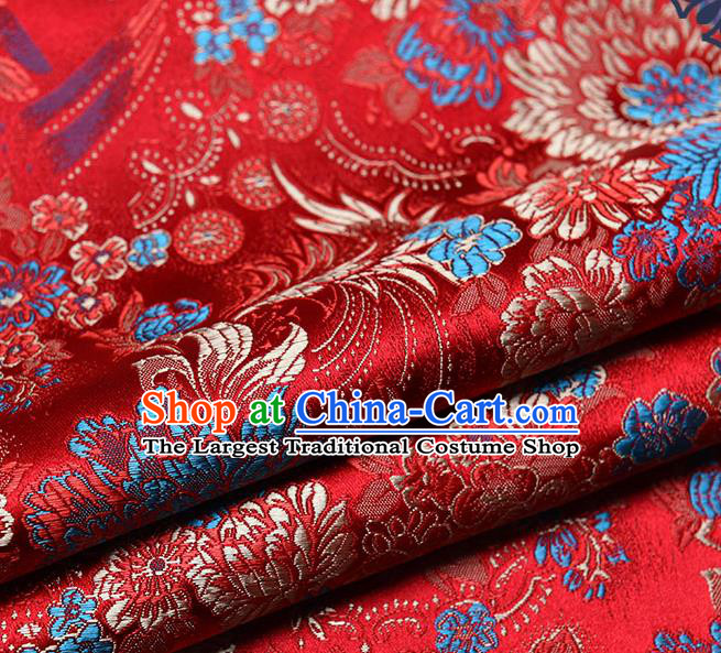 Chinese Traditional Tang Suit Red Brocade Fabric Peony Pattern Silk Cloth Cheongsam Material Drapery