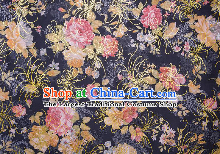 Chinese Traditional Peony Pattern Tang Suit Black Brocade Fabric Silk Cloth Cheongsam Material Drapery