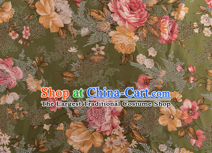 Chinese Traditional Peony Flowers Pattern Tang Suit Olive Green Brocade Fabric Silk Cloth Cheongsam Material Drapery