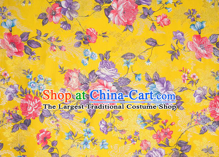 Chinese Traditional Peony Flowers Pattern Tang Suit Yellow Brocade Fabric Silk Cloth Cheongsam Material Drapery