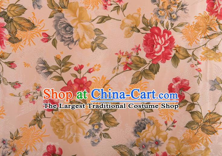 Chinese Traditional Peony Flowers Pattern Tang Suit Pink Brocade Fabric Silk Cloth Cheongsam Material Drapery