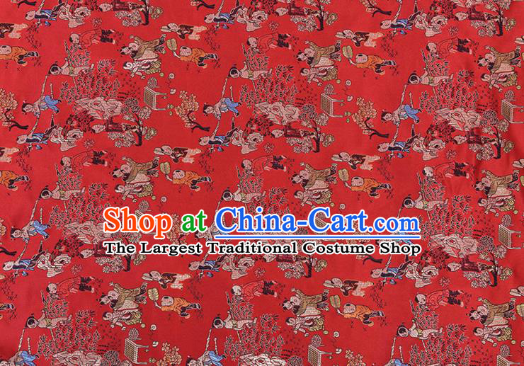 Chinese Traditional Hundred Children Pattern Tang Suit Red Brocade Fabric Silk Cloth Cheongsam Material Drapery