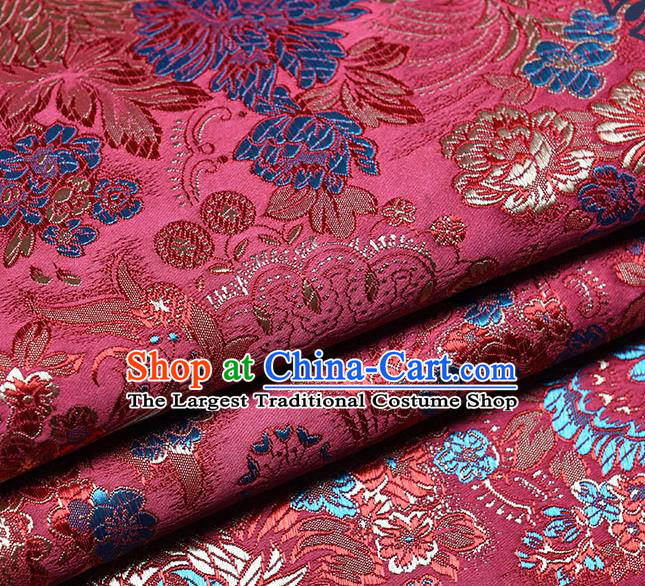 Chinese Traditional Tang Suit Purplish Red Brocade Fabric Peony Pattern Silk Cloth Cheongsam Material Drapery
