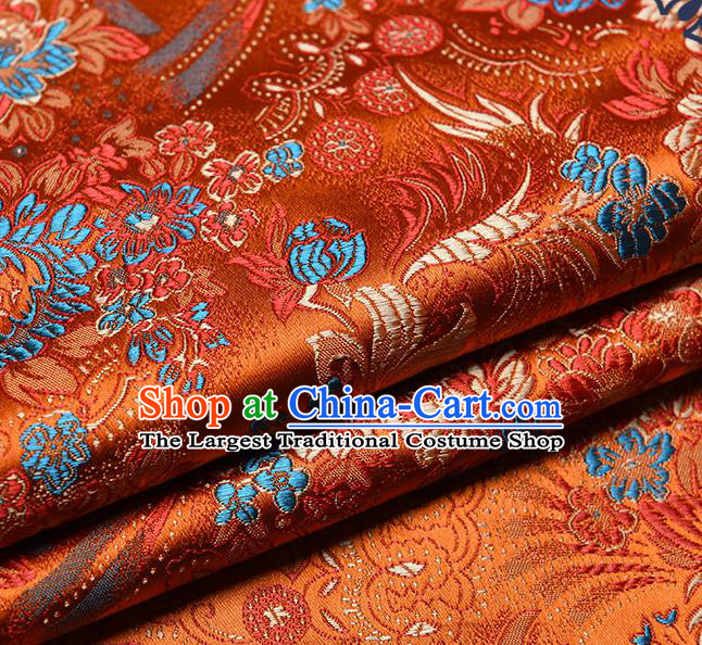 Chinese Traditional Tang Suit Orange Brocade Fabric Peony Pattern Silk Cloth Cheongsam Material Drapery