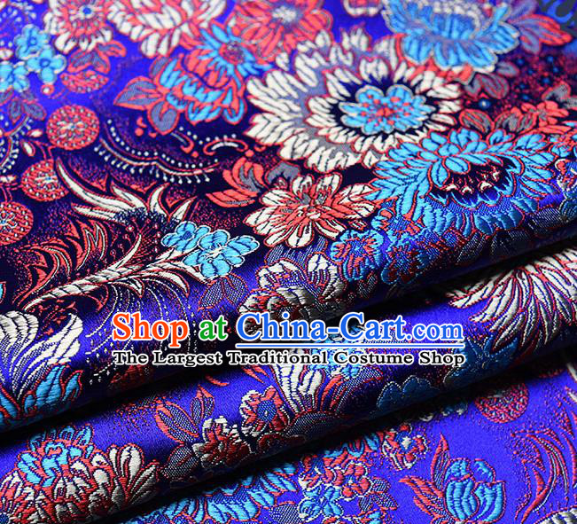 Chinese Traditional Tang Suit Royalblue Brocade Fabric Peony Pattern Silk Cloth Cheongsam Material Drapery