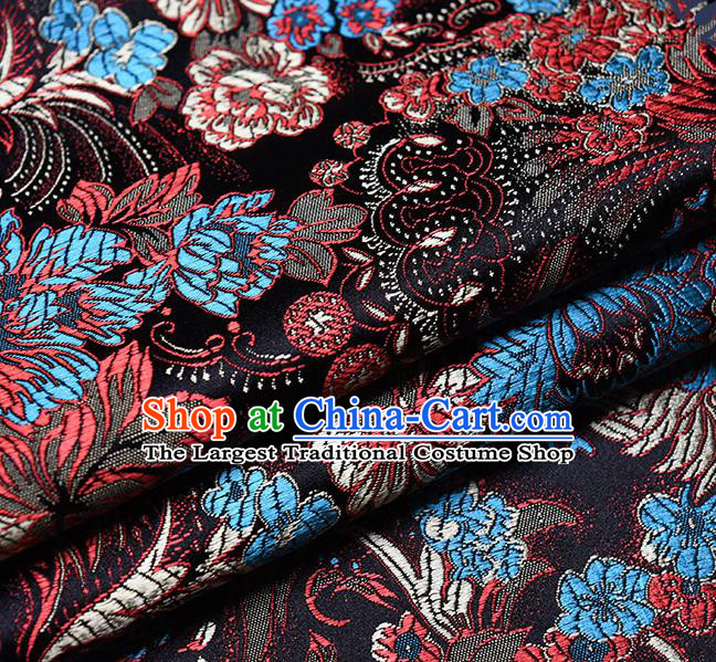 Chinese Traditional Tang Suit Black Brocade Fabric Peony Pattern Silk Cloth Cheongsam Material Drapery