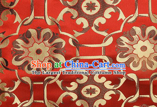 Chinese Traditional Tang Suit Red Brocade Fabric Silk Cloth Cheongsam Material Drapery