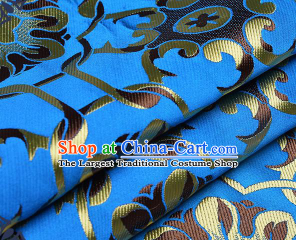 Chinese Traditional Tang Suit Blue Brocade Fabric Silk Cloth Cheongsam Material Drapery