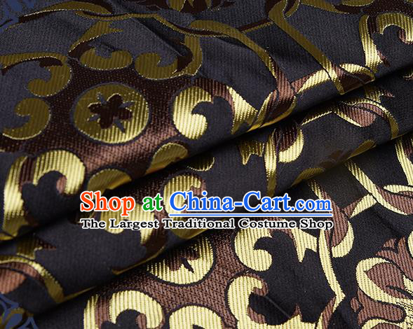 Chinese Traditional Tang Suit Black Brocade Fabric Silk Cloth Cheongsam Material Drapery