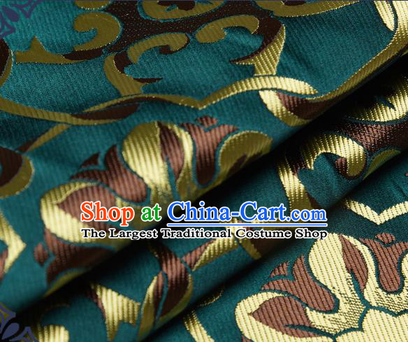 Chinese Traditional Tang Suit Deep Green Brocade Fabric Silk Cloth Cheongsam Material Drapery