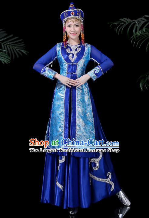 Chinese Traditional Mongolian Classical Dance Blue Dress Mongol Minority Folk Dance Costume for Women