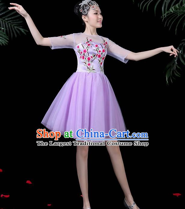 Professional Modern Dance Costume Chorus Purple Bubble Veil Dress for Women