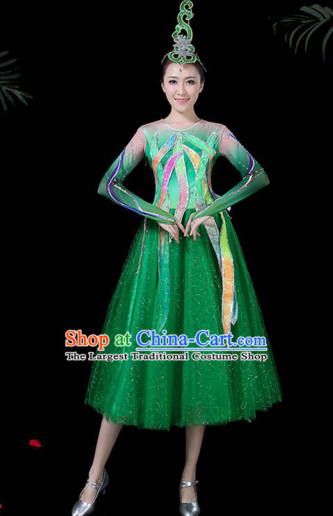 Professional Modern Dance Costume Chorus Folk Dance Green Veil Dress for Women