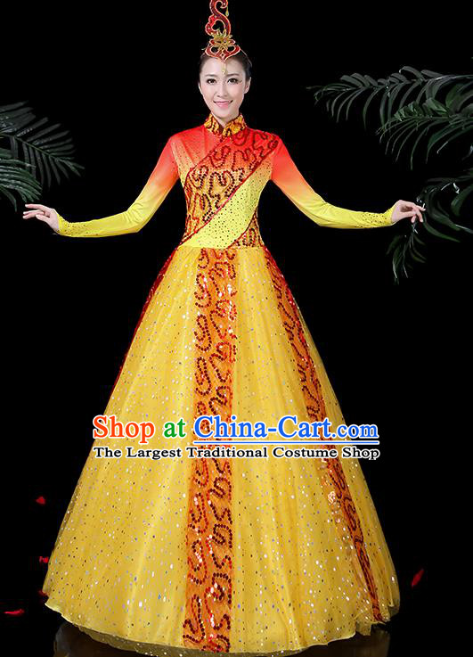 Chinese Classical Dance Costume Traditional Folk Dance Yellow Dress for Women