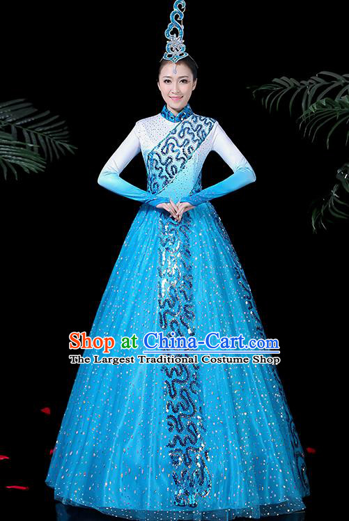 Chinese Classical Dance Costume Traditional Folk Dance Blue Dress for Women