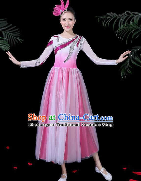 Professional Modern Dance Costume Chorus Umbrella Dance Pink Dress for Women