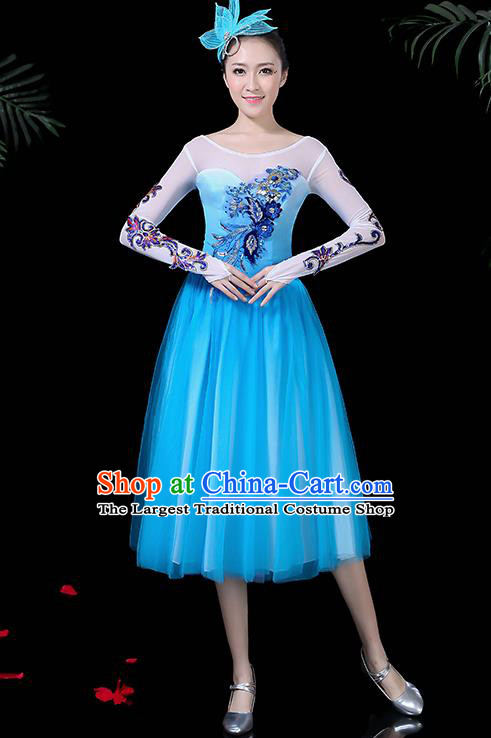 Professional Stage Performance Modern Dance Costume Chorus Blue Dress for Women