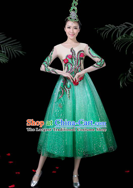 Chinese Classical Dance Costume Traditional Folk Dance Chorus Green Dress for Women