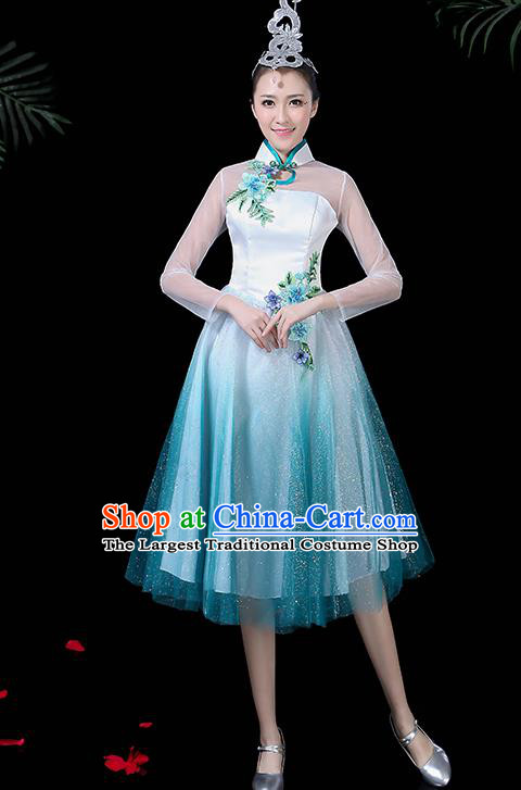 Chinese Classical Dance Costume Traditional Folk Dance Chorus Blue Dress for Women