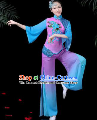 Chinese Classical Umbrella Dance Purple Costume Traditional Folk Dance Yangko Clothing for Women