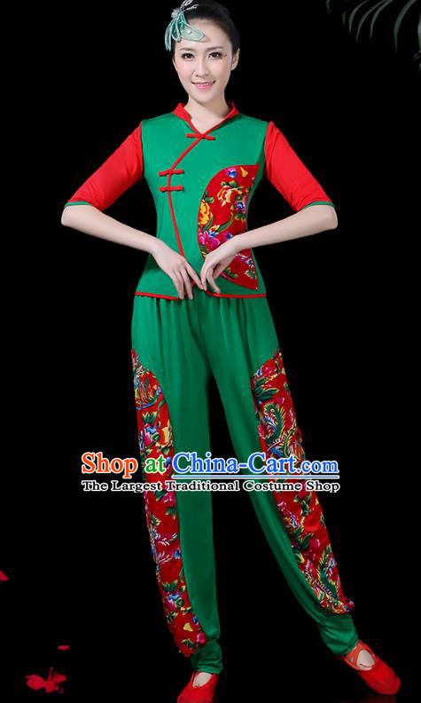 Chinese Classical Fan Dance Green Costume Traditional Folk Dance Yangko Clothing for Women
