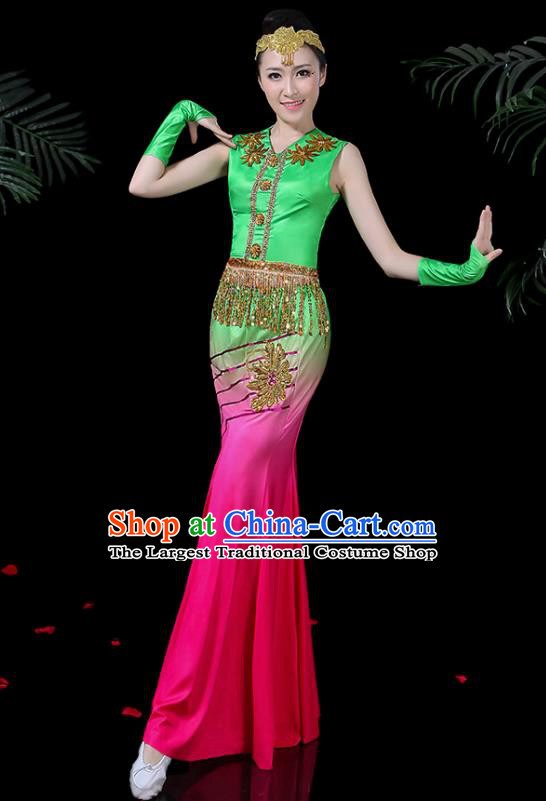 Chinese Traditional Classical Dance Rosy Dress Dai Minority Peacock Dance Clothing for Women