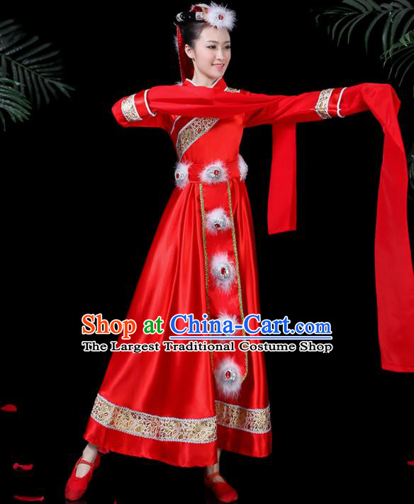 Chinese Traditional Classical Dance Red Dress Zang Minority Folk Dance Clothing for Women