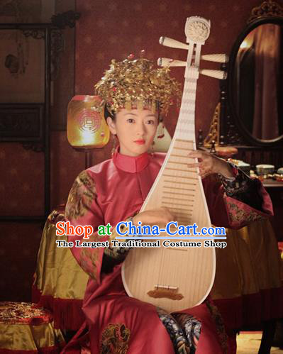 Chinese Ancient Qing Dynasty Ruyi Royal Love in the Palace Imperial Consort Wedding Costumes and Headpiece for Women