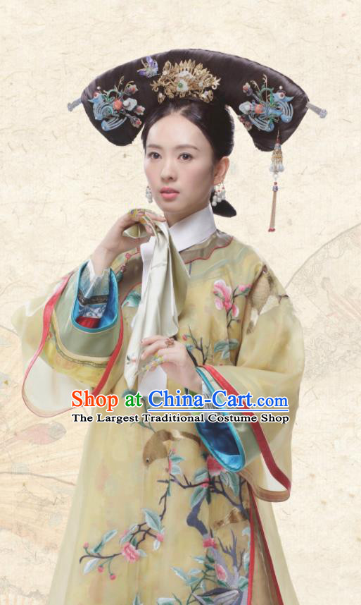 Ancient Chinese Qing Dynasty Senior Concubine Ruyi Royal Love in the Palace Embroidered Costumes and Headpiece for Women